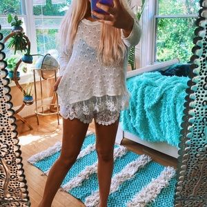 Sweaters - Cotton Emporium Lace Girly Heart Knit White Sweatr